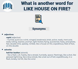 like house on fire, synonym like house on fire, another word for like house on fire, words like like house on fire, thesaurus like house on fire
