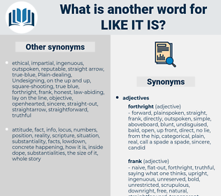 like it is, synonym like it is, another word for like it is, words like like it is, thesaurus like it is