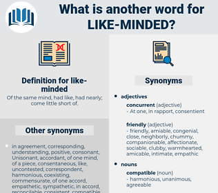 like minded, synonym like minded, another word for like minded, words like like minded, thesaurus like minded