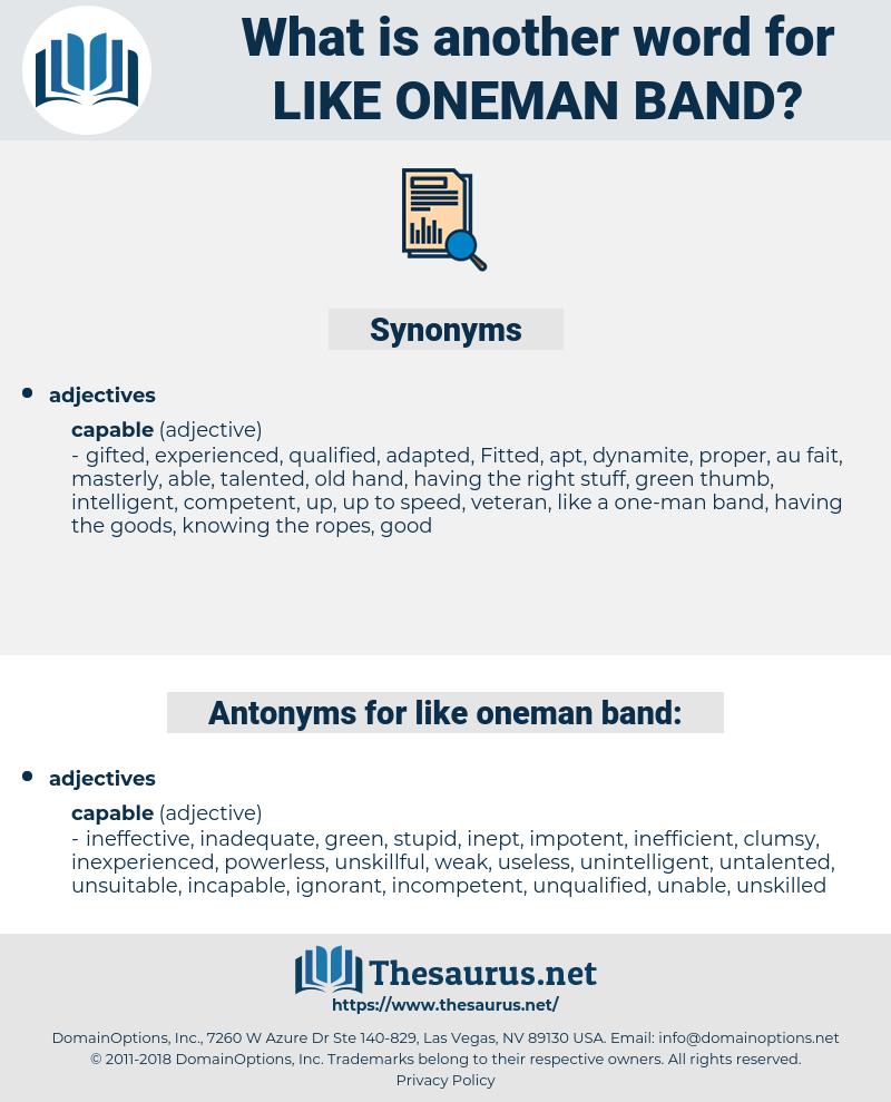 like oneman band, synonym like oneman band, another word for like oneman band, words like like oneman band, thesaurus like oneman band