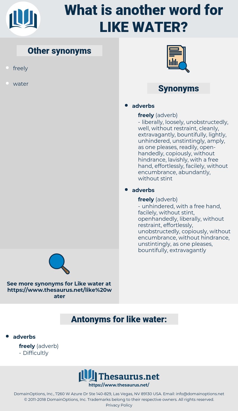like water, synonym like water, another word for like water, words like like water, thesaurus like water