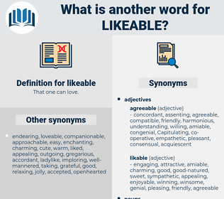 likeable, synonym likeable, another word for likeable, words like likeable, thesaurus likeable