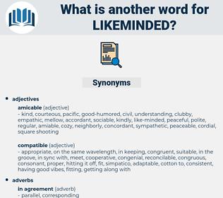 likeminded, synonym likeminded, another word for likeminded, words like likeminded, thesaurus likeminded