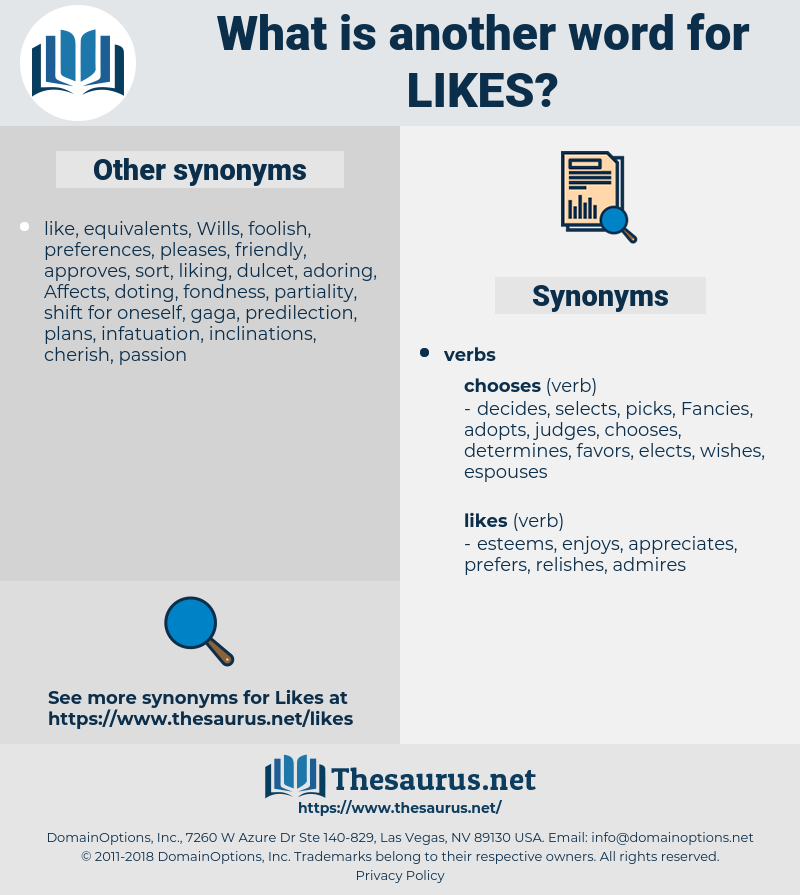 likes, synonym likes, another word for likes, words like likes, thesaurus likes