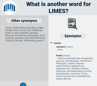 limes, synonym limes, another word for limes, words like limes, thesaurus limes