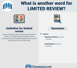 limited review, synonym limited review, another word for limited review, words like limited review, thesaurus limited review
