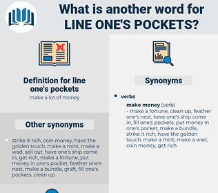 line one's pockets, synonym line one's pockets, another word for line one's pockets, words like line one's pockets, thesaurus line one's pockets