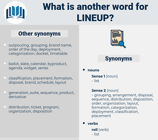 lineup, synonym lineup, another word for lineup, words like lineup, thesaurus lineup
