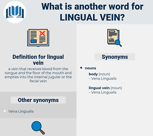 lingual vein, synonym lingual vein, another word for lingual vein, words like lingual vein, thesaurus lingual vein