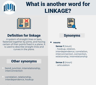 linkage, synonym linkage, another word for linkage, words like linkage, thesaurus linkage