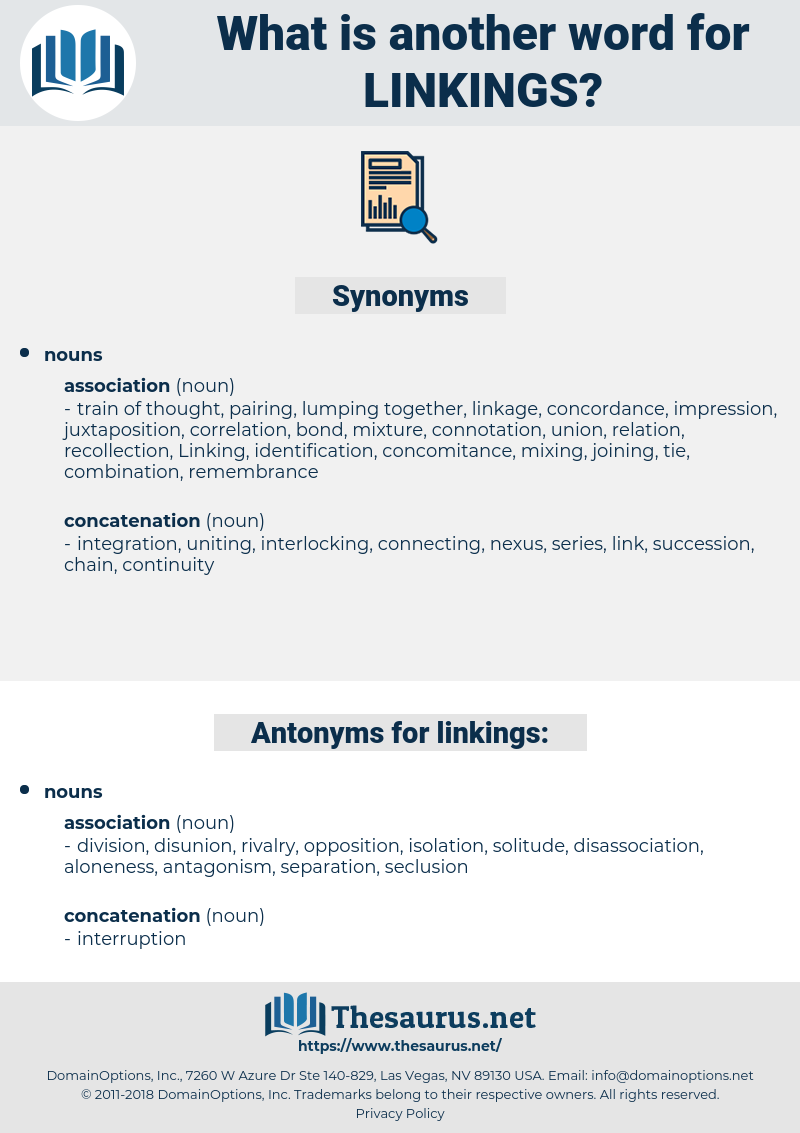 linkings, synonym linkings, another word for linkings, words like linkings, thesaurus linkings
