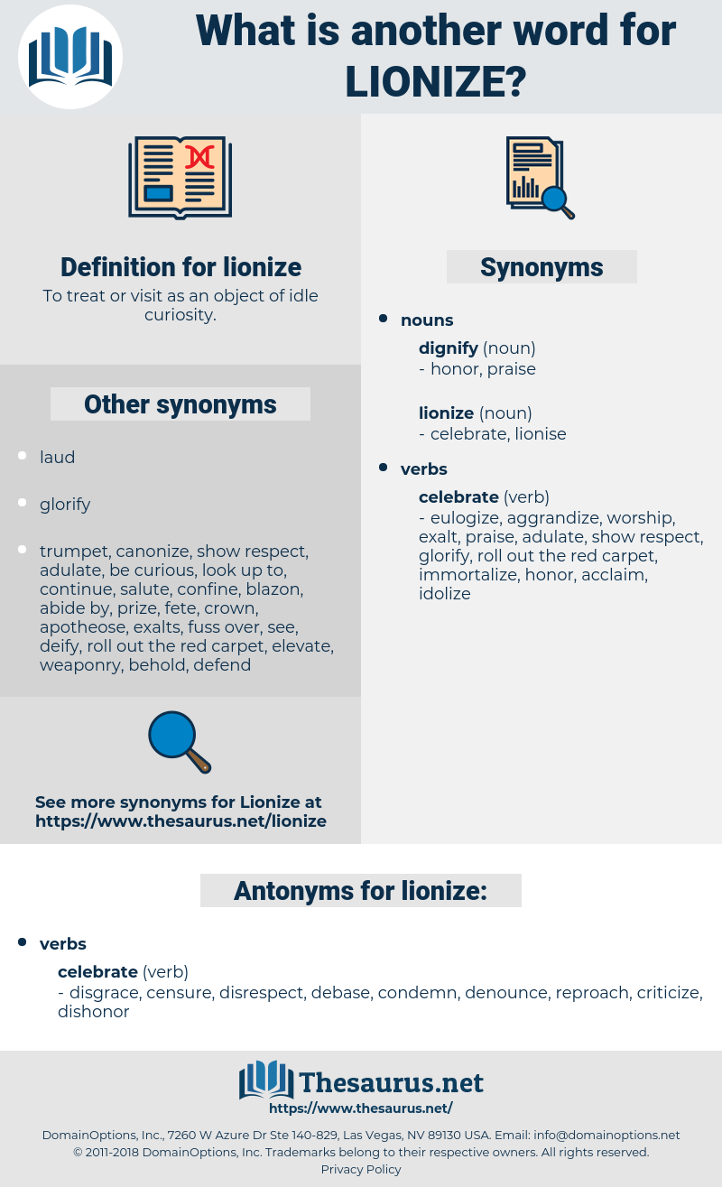 lionize, synonym lionize, another word for lionize, words like lionize, thesaurus lionize