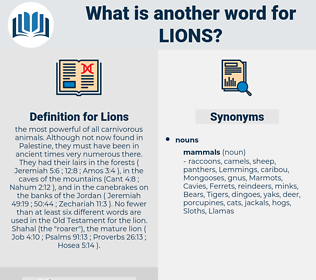 Lions, synonym Lions, another word for Lions, words like Lions, thesaurus Lions
