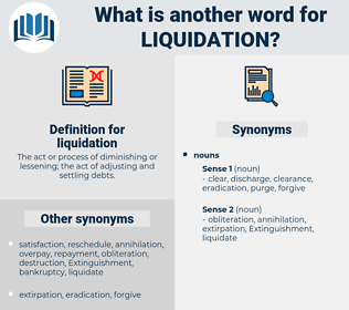 liquidation, synonym liquidation, another word for liquidation, words like liquidation, thesaurus liquidation