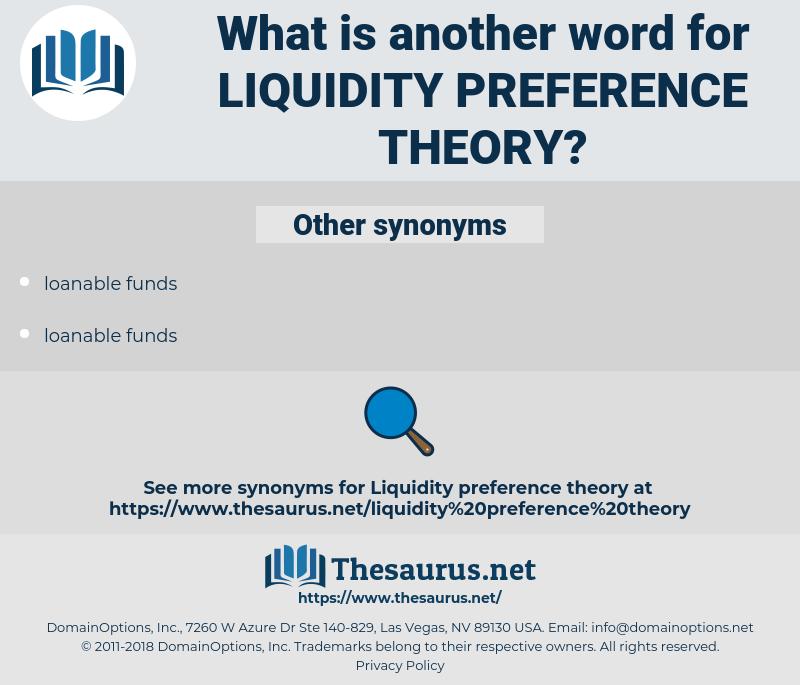 LIQUIDITY PREFERENCE THEORY, synonym LIQUIDITY PREFERENCE THEORY, another word for LIQUIDITY PREFERENCE THEORY, words like LIQUIDITY PREFERENCE THEORY, thesaurus LIQUIDITY PREFERENCE THEORY