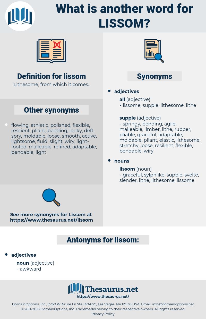 lissom, synonym lissom, another word for lissom, words like lissom, thesaurus lissom