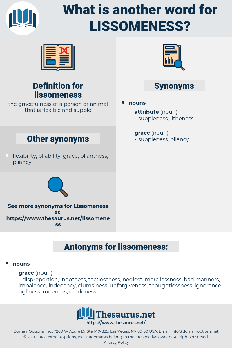 lissomeness, synonym lissomeness, another word for lissomeness, words like lissomeness, thesaurus lissomeness