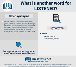 Listened, synonym Listened, another word for Listened, words like Listened, thesaurus Listened