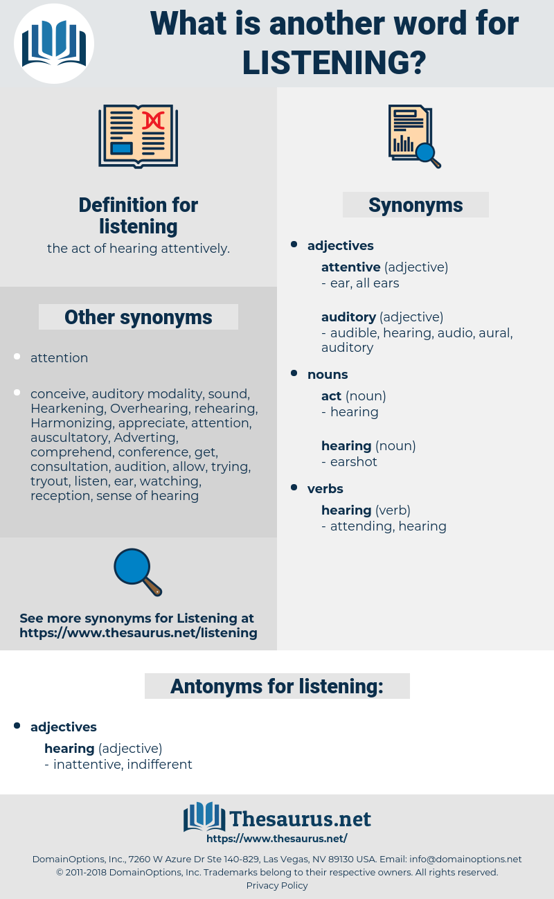 listening, synonym listening, another word for listening, words like listening, thesaurus listening