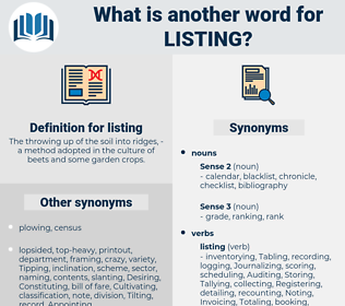 listing, synonym listing, another word for listing, words like listing, thesaurus listing