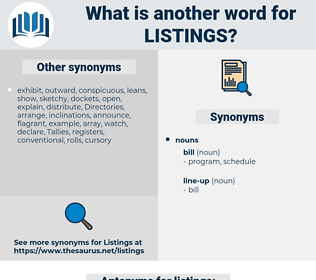 listings, synonym listings, another word for listings, words like listings, thesaurus listings