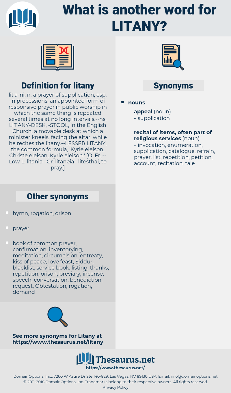 litany, synonym litany, another word for litany, words like litany, thesaurus litany
