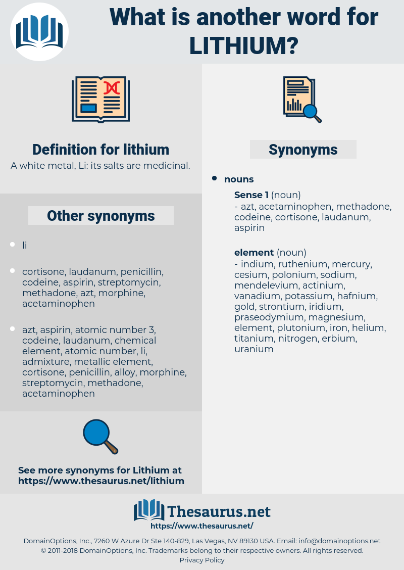 lithium, synonym lithium, another word for lithium, words like lithium, thesaurus lithium