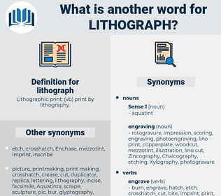 lithograph, synonym lithograph, another word for lithograph, words like lithograph, thesaurus lithograph