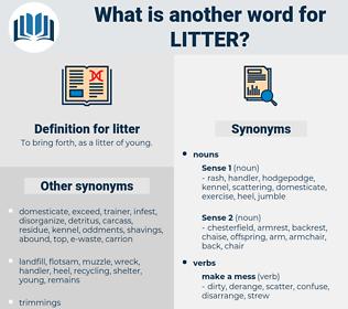 litter, synonym litter, another word for litter, words like litter, thesaurus litter