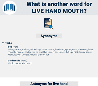live hand mouth, synonym live hand mouth, another word for live hand mouth, words like live hand mouth, thesaurus live hand mouth
