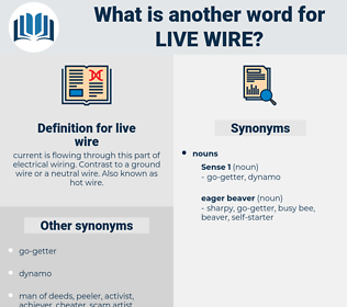 live wire, synonym live wire, another word for live wire, words like live wire, thesaurus live wire
