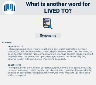 lived to, synonym lived to, another word for lived to, words like lived to, thesaurus lived to