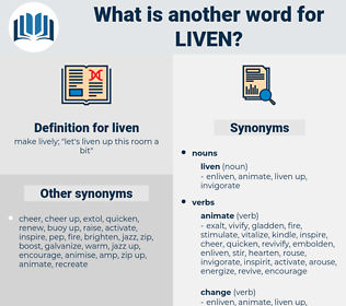 liven, synonym liven, another word for liven, words like liven, thesaurus liven