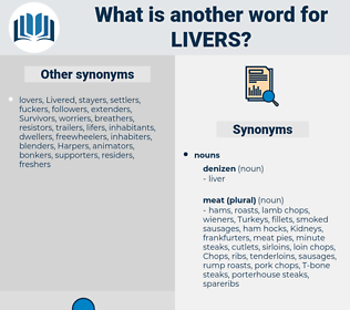 livers, synonym livers, another word for livers, words like livers, thesaurus livers