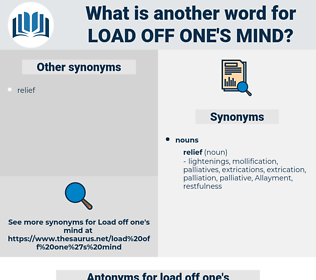 load off one's mind, synonym load off one's mind, another word for load off one's mind, words like load off one's mind, thesaurus load off one's mind