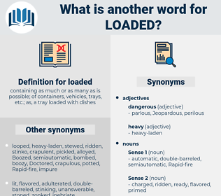 loaded, synonym loaded, another word for loaded, words like loaded, thesaurus loaded