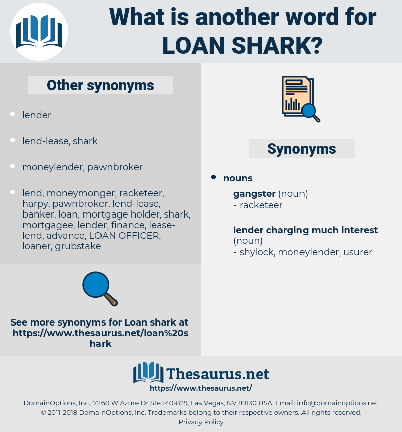 loan shark, synonym loan shark, another word for loan shark, words like loan shark, thesaurus loan shark