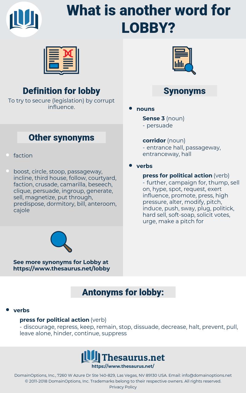 lobby, synonym lobby, another word for lobby, words like lobby, thesaurus lobby