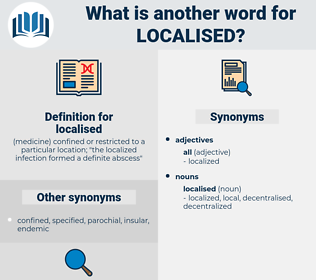 localised, synonym localised, another word for localised, words like localised, thesaurus localised