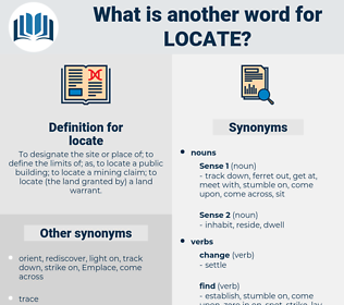 locate, synonym locate, another word for locate, words like locate, thesaurus locate