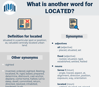 located, synonym located, another word for located, words like located, thesaurus located