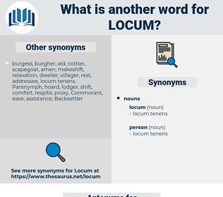 locum, synonym locum, another word for locum, words like locum, thesaurus locum