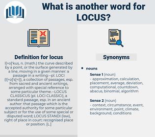 locus, synonym locus, another word for locus, words like locus, thesaurus locus