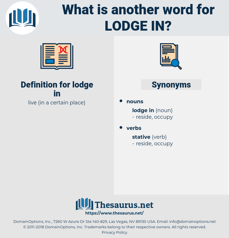 lodge in, synonym lodge in, another word for lodge in, words like lodge in, thesaurus lodge in