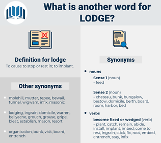 lodge, synonym lodge, another word for lodge, words like lodge, thesaurus lodge