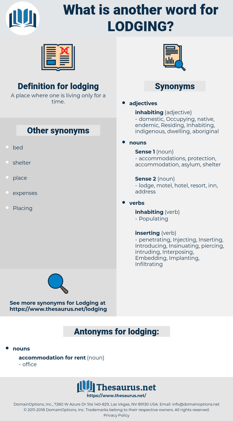 lodging, synonym lodging, another word for lodging, words like lodging, thesaurus lodging