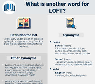 loft, synonym loft, another word for loft, words like loft, thesaurus loft