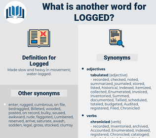 Logged, synonym Logged, another word for Logged, words like Logged, thesaurus Logged