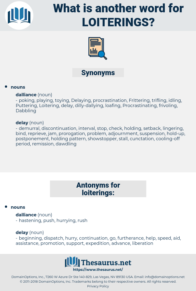 loiterings, synonym loiterings, another word for loiterings, words like loiterings, thesaurus loiterings