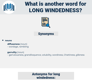 long-windedness, synonym long-windedness, another word for long-windedness, words like long-windedness, thesaurus long-windedness